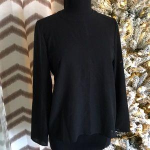 High neck zip back long sleeve blouse